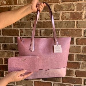 OFFERS? NEW Kate Spade Lola Glitter Tote & Wallet